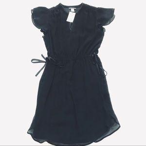 NWT • H&M Black Ruffle Tie Mini Dress